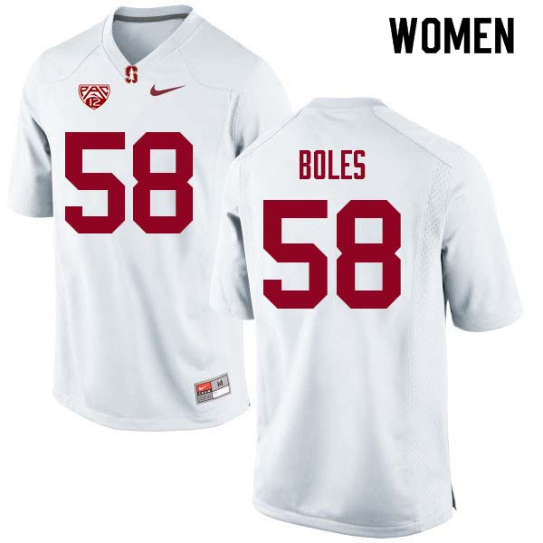 Women Stanford Cardinal #58 Dylan Boles College Football Jerseys Sale-White