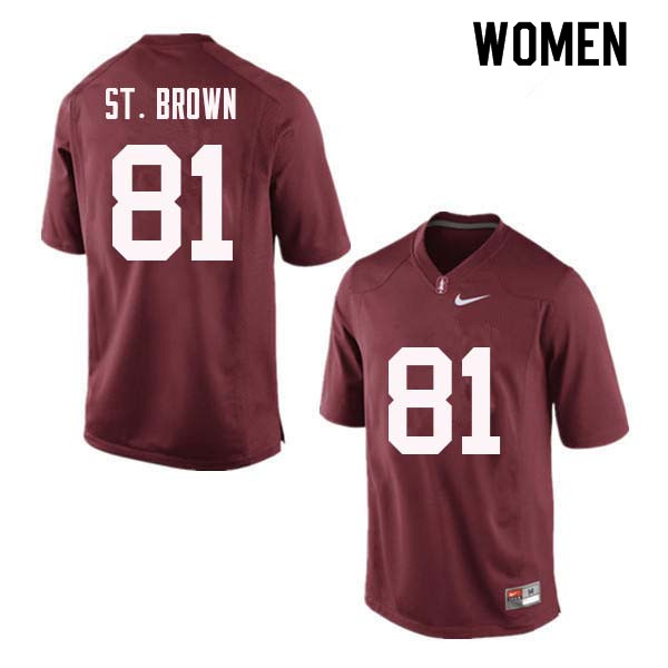 Women Stanford Cardinal #81 Osiris St. Brown College Football Jerseys Sale-Red