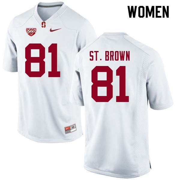 Women Stanford Cardinal #81 Osiris St. Brown College Football Jerseys Sale-White