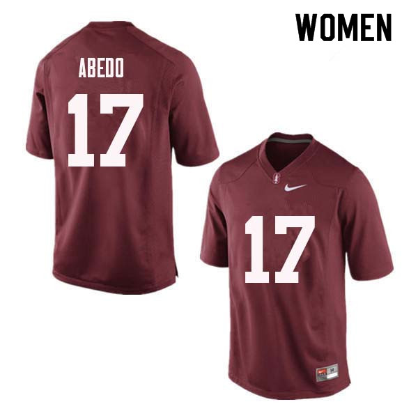 Women Stanford Cardinal #17 Paulson Abedo College Football Jerseys Sale-Red