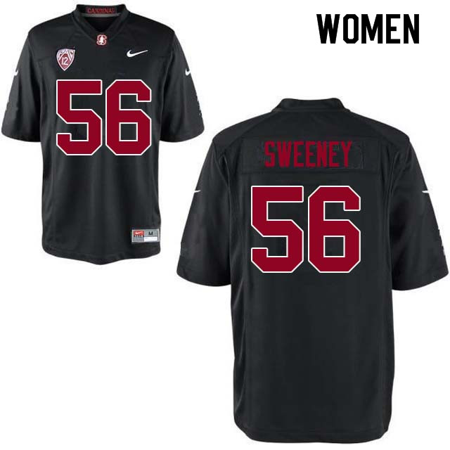 Women Stanford Cardinal #56 Will Sweeney College Football Jerseys Sale-Black
