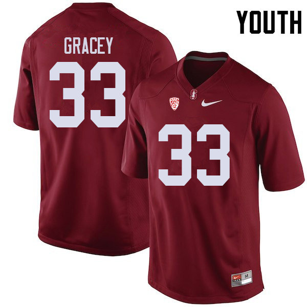 Youth #33 Alex Gracey Stanford Cardinal College Football Jerseys Sale-Cardinal