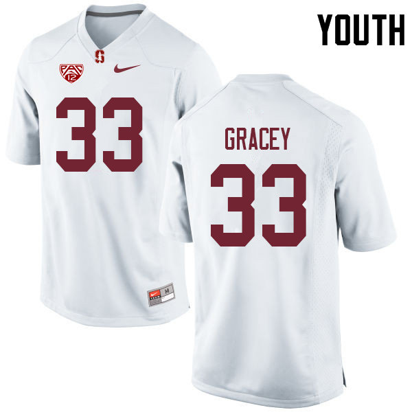 Youth #33 Alex Gracey Stanford Cardinal College Football Jerseys Sale-White