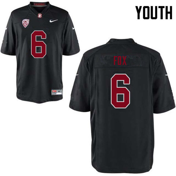 Youth #6 Andres Fox Stanford Cardinal College Football Jerseys Sale-Black