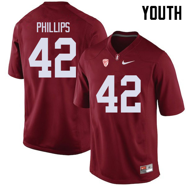 Youth #42 Caleb Phillips Stanford Cardinal College Football Jerseys Sale-Cardinal