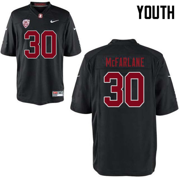 Youth #30 Cameron McFarlane Stanford Cardinal College Football Jerseys Sale-Black