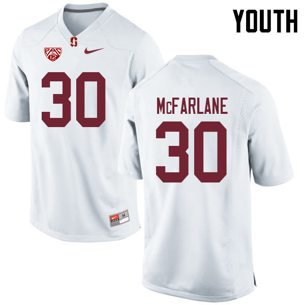 Youth #30 Cameron McFarlane Stanford Cardinal College Football Jerseys Sale-White