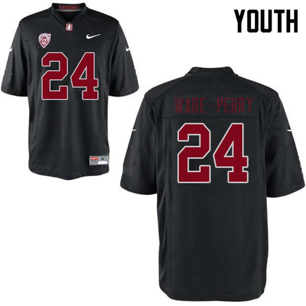 Youth #24 Dalyn Wade-Perry Stanford Cardinal College Football Jerseys Sale-Black