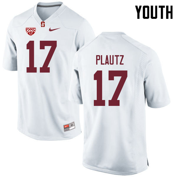 Youth #17 Dylan Plautz Stanford Cardinal College Football Jerseys Sale-White