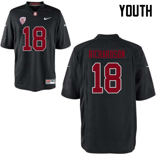Youth #18 Jack Richardson Stanford Cardinal College Football Jerseys Sale-Black