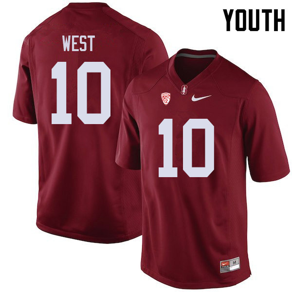 Youth #10 Jack West Stanford Cardinal College Football Jerseys Sale-Cardinal