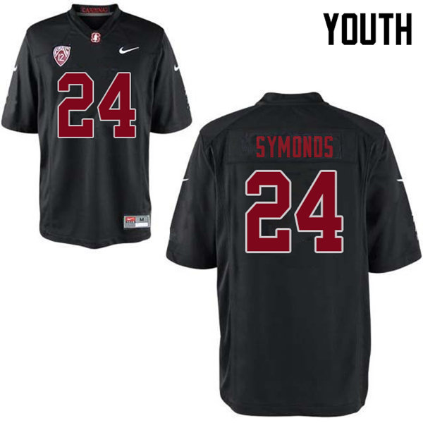 Youth #24 Jay Symonds Stanford Cardinal College Football Jerseys Sale-Black