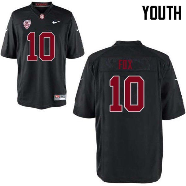Youth #10 Jordan Fox Stanford Cardinal College Football Jerseys Sale-Black