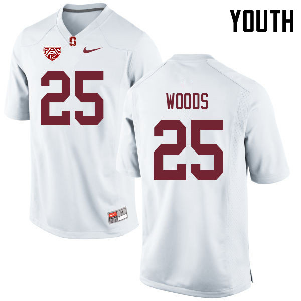 Youth #25 Justus Woods Stanford Cardinal College Football Jerseys Sale-White