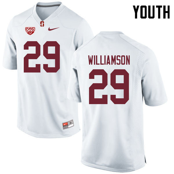 Youth #29 Kendall Williamson Stanford Cardinal College Football Jerseys Sale-White