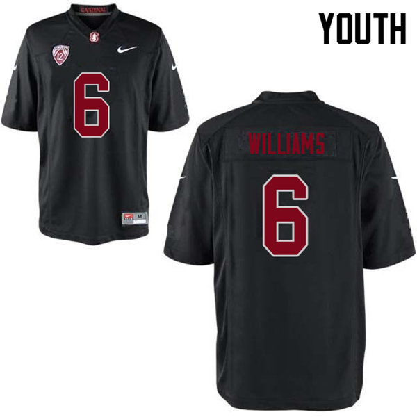 Youth #6 Reagan Williams Stanford Cardinal College Football Jerseys Sale-Black