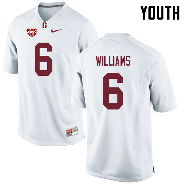 Youth #6 Reagan Williams Stanford Cardinal College Football Jerseys Sale-White