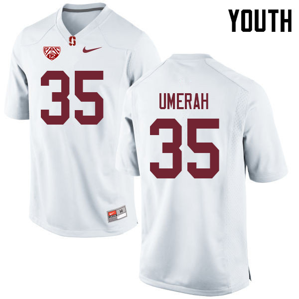 Youth #35 Tobe Umerah Stanford Cardinal College Football Jerseys Sale-White