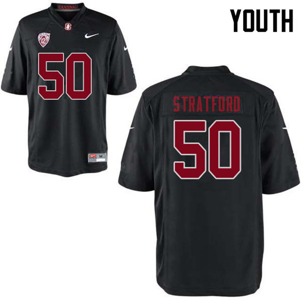 Youth #50 Trey Stratford Stanford Cardinal College Football Jerseys Sale-Black