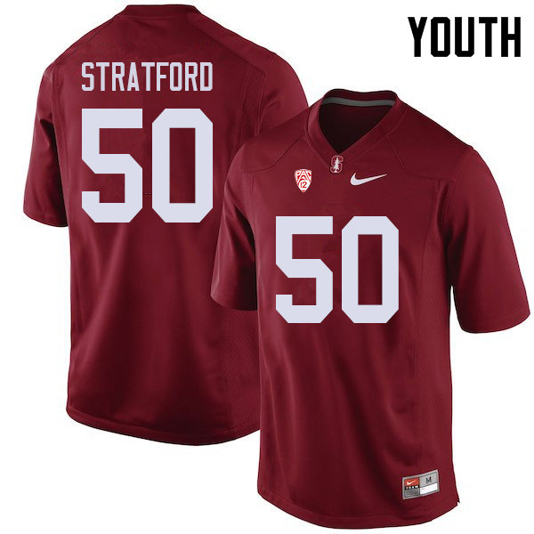 Youth #50 Trey Stratford Stanford Cardinal College Football Jerseys Sale-Cardinal