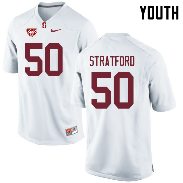 Youth #50 Trey Stratford Stanford Cardinal College Football Jerseys Sale-White