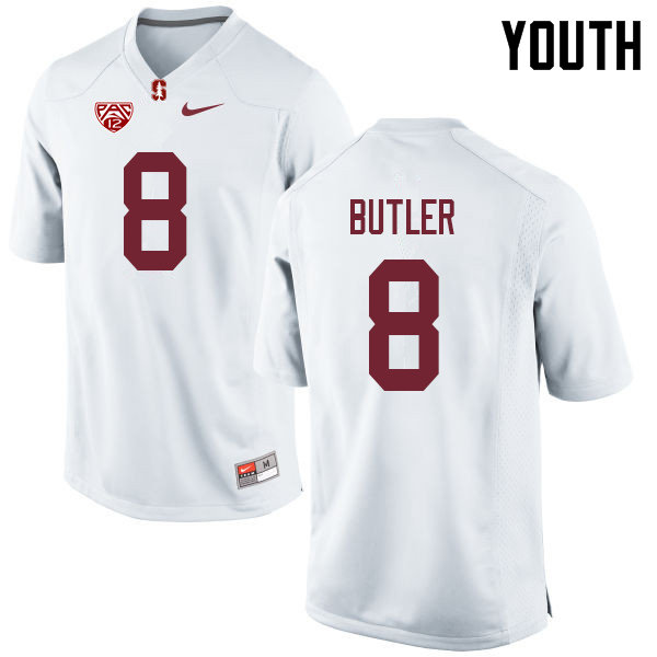 Youth #8 Treyjohn Butler Stanford Cardinal College Football Jerseys Sale-White