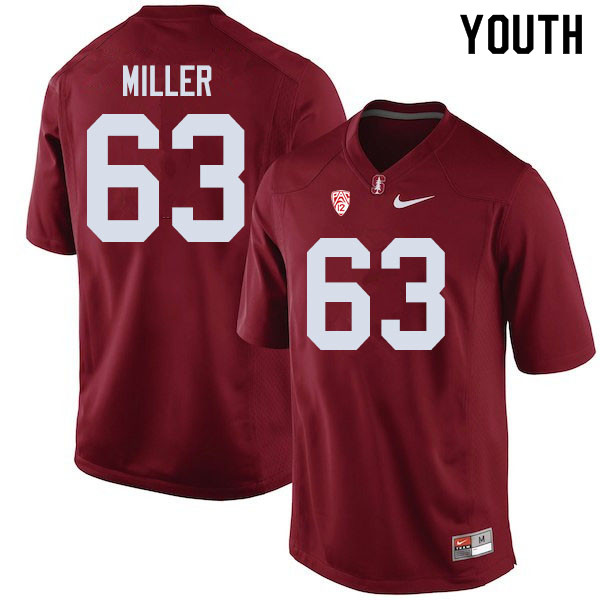 Youth #63 Barrett Miller Stanford Cardinal College Football Jerseys Sale-Cardinal