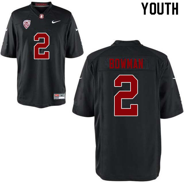 Youth #2 Colby Bowman Stanford Cardinal College Football Jerseys Sale-Black
