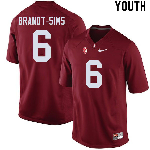 Youth #6 Isaiah Brandt-Sims Stanford Cardinal College Football Jerseys Sale-Cardinal