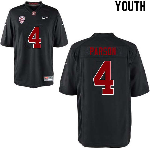 Youth #4 J.J. Parson Stanford Cardinal College Football Jerseys Sale-Black