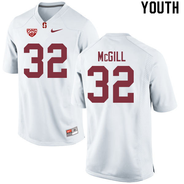 Youth #32 Jonathan McGill Stanford Cardinal College Football Jerseys Sale-White