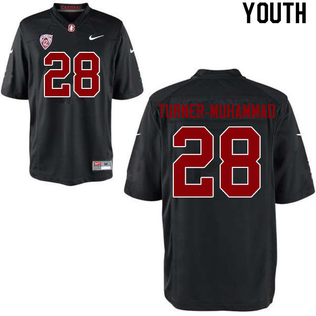 Youth #28 Salim Turner-Muhammad Stanford Cardinal College Football Jerseys Sale-Black