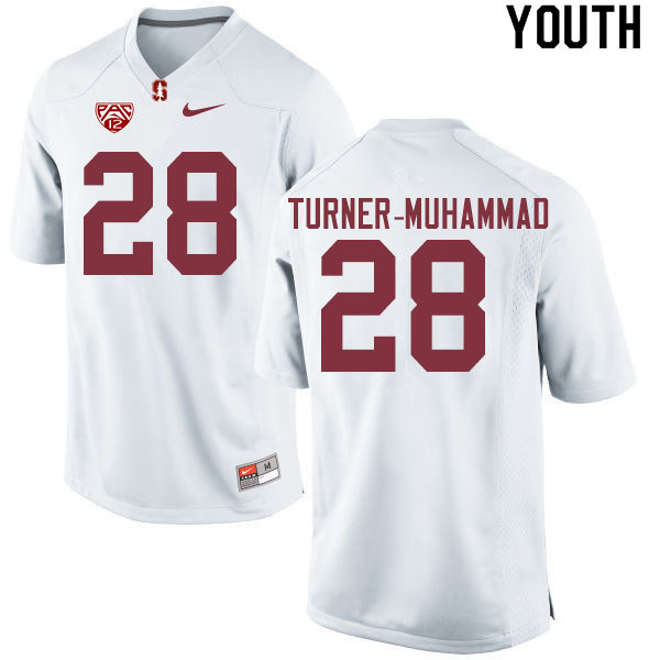 Youth #28 Salim Turner-Muhammad Stanford Cardinal College Football Jerseys Sale-White