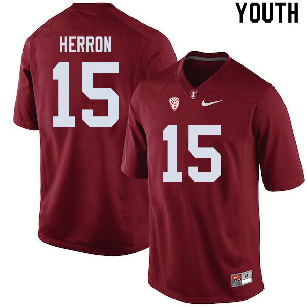 Youth #15 Stephen Herron Stanford Cardinal College Football Jerseys Sale-Cardinal