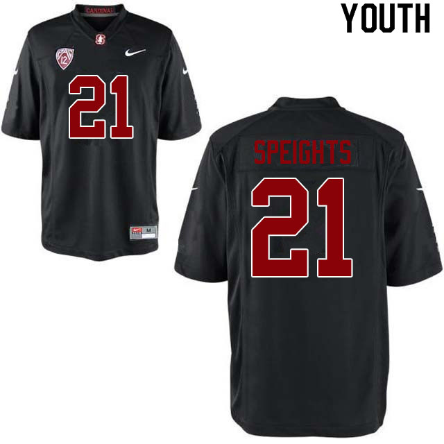 Youth #21 Trevor Speights Stanford Cardinal College Football Jerseys Sale-Black