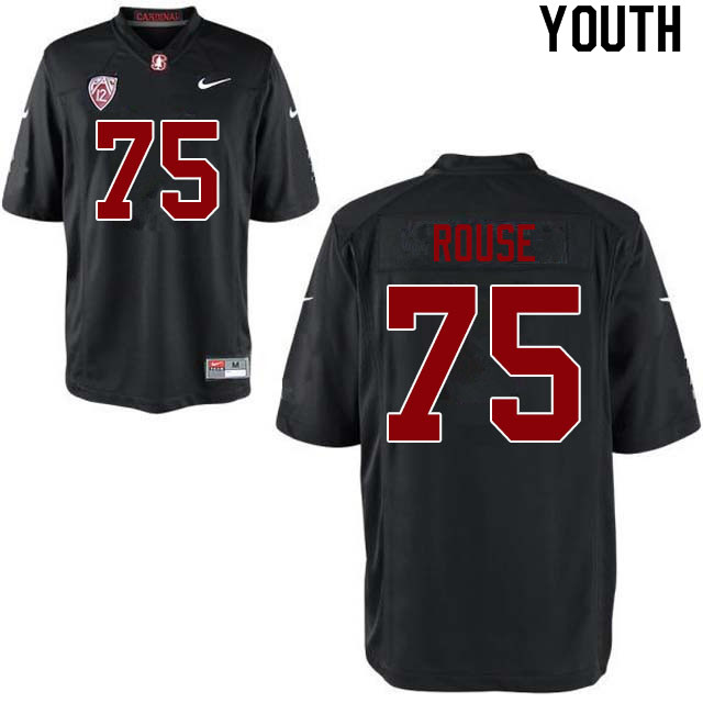 Youth #75 Walter Rouse Stanford Cardinal College Football Jerseys Sale-Black