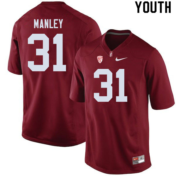 Youth #31 Zahran Manley Stanford Cardinal College Football Jerseys Sale-Cardinal