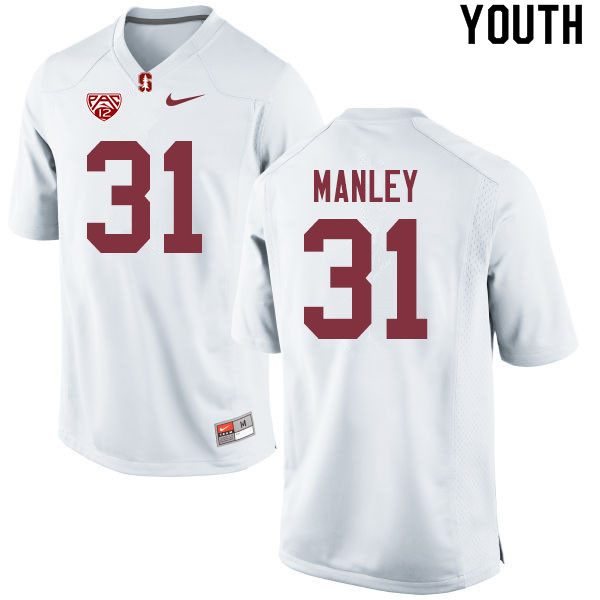 Youth #31 Zahran Manley Stanford Cardinal College Football Jerseys Sale-White