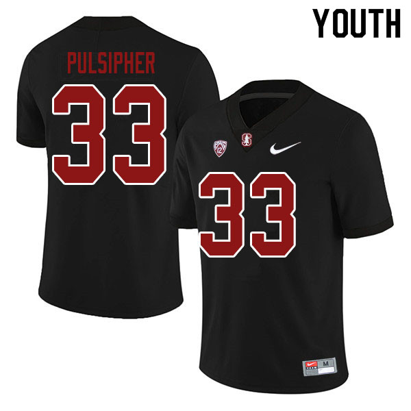 Youth #33 Anson Pulsipher Stanford Cardinal College Football Jerseys Sale-Black