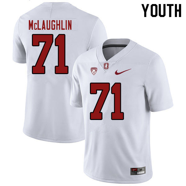 Youth #71 Connor McLaughlin Stanford Cardinal College Football Jerseys Sale-White