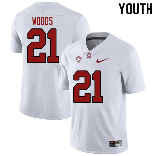 Youth #21 Justus Woods Stanford Cardinal College Football Jerseys Sale-White