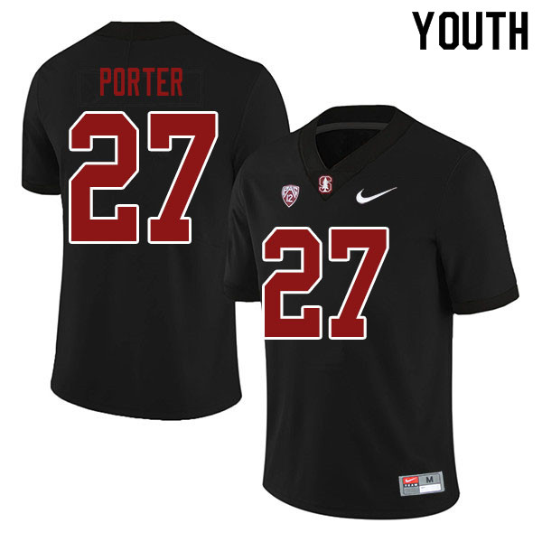 Youth #27 Omari Porter Stanford Cardinal College Football Jerseys Sale-Black