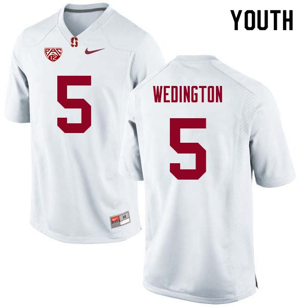 Youth Stanford Cardinal #5 Connor Wedington College Football Jerseys Sale-White