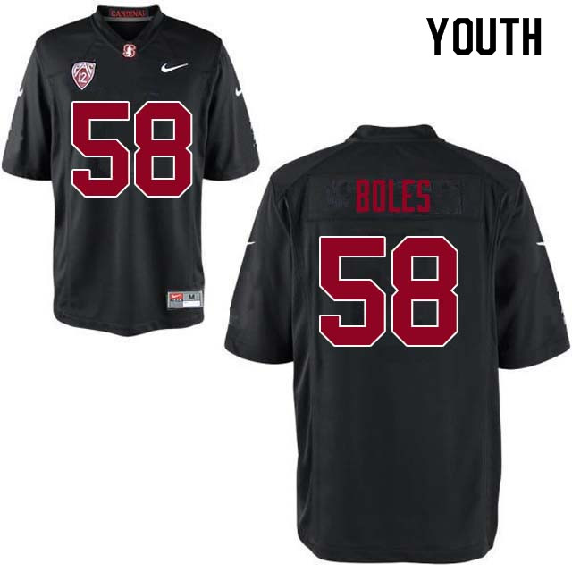 Youth Stanford Cardinal #58 Dylan Boles College Football Jerseys Sale-Black