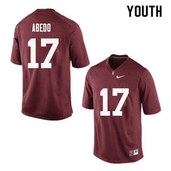 Youth Stanford Cardinal #17 Paulson Abedo College Football Jerseys Sale-Red